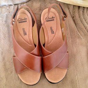 Clark's Brown Leather Wedge Heel Comfort Sandals